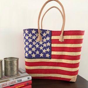USA Flag straw tote basket handbag summer Bag